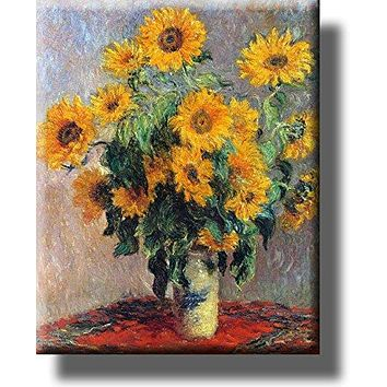 Vase of Sunflowers Painting Picture by Monet on Acrylic , Wall Art Décor, Ready to Hang!