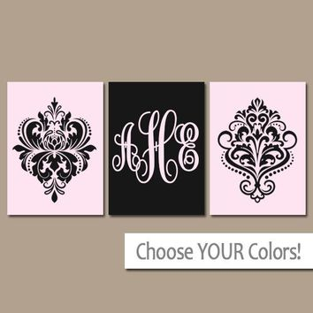 DAMASK Wall Art, Pink Black Monogram Initials, Baby Girl Nursery Decor, Girl Set of 3, Canvas or Prints, Gift for Girl Wall Decor Wall Decor