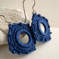 True blue square crochet earrings - Lacy fashion trends - Girlfriend birthday gift - Statteam eclectict - Holiday gift idea