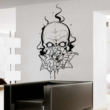 Vinyl Wall Decal Sticker Skull Holding Rose #1468