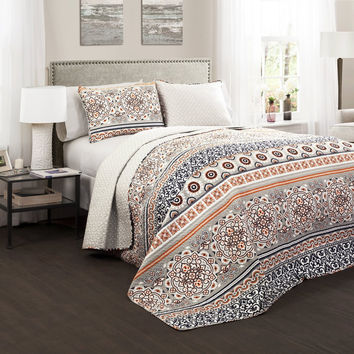 Nevin 3 PC Navy Orange Quilt Bedding SET