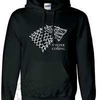 """Winter Is Coming"" Inspired From Very Famous TV Series Games of Thrones  Printed Unisex Pullover Hoodie"