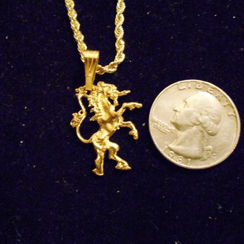 bling 14kt yellow gold plated fantasy mythical magic stonehenge fantasy legend folklore fighting unicorn pendant charm 24 inch rope chain hip hop trendy fashion necklace jewelry