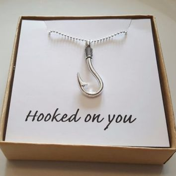 Fish Hook Necklace - Hoop Pendant - Sterling Silver - Fishing Necklace - Hooked