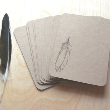 Feather Notecards, Feather Stationery, Kraft Cards, Hand-Stamped Note Cards, Greeting Cards, Nature, Woodland, Woodland Card Set