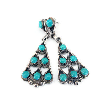 Petite Point Earrings, Sterling Silver, Turquoise Stone, Needlepoint, Zuni, Native American, Dangle Drop, Vintage Earrings, Vintage Jewelry
