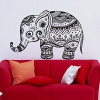 Animal Vintage Elephant Patterns Art Indian Design Wall Vinyl Decal Art Sticker Home Modern Stylish Interior Decor for Any Room Smooth and Flat Surfaces Housewares Murals Graphic Bedroom Living Room (2354)