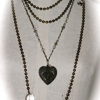 Bronze Ball Necklace with Crystal and Fleur de leis Charm