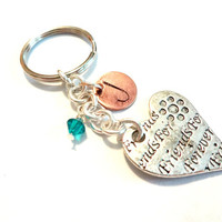 Friends Forever Heart Keychain, Personalized Initial Birthstone Metal Key Ring, Automotive Accessories