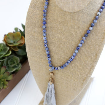 Semi Precious Stone Clothe Tassel Necklace, Blue