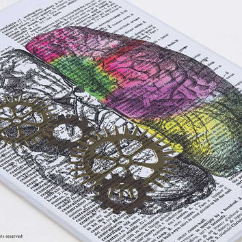 Left right brain canvas board-brain wall art-anatomy wall art-human brain wall art-medical office decor-brain-doctor gift-NATURA PICTA-CB029