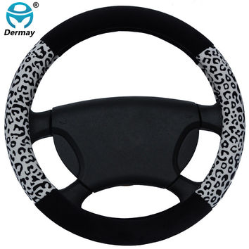 7Colors NEW Leopard Print Fur Cute Steering Wheel Covers Girls Size 38cm Fits Most Car Styling Winter Warm Free Shipping