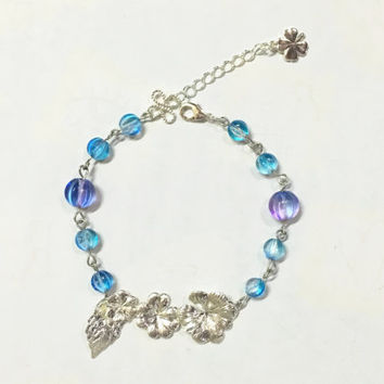 Dainty Silver Leaf Flower Bracelet Blue Purple Beaded Bracelet Delicate Clover Bracelet Good Luck Bracelet - Gift Idea For Her
