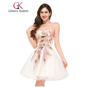 Grace Karin Cocktial Dress Peacock Party Gowns Black White Tulle Robe De Cocktail Mini Special Occasion Short Prom Dress 2017