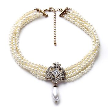 2016 Party Dazzle Noble Multilayer Beads Chain Romantic Choker Necklace Simulated Pearl Necklace  Fashion Jewelry
