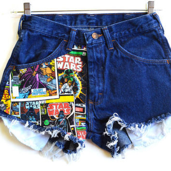 STARWARS High waisted denim shorts