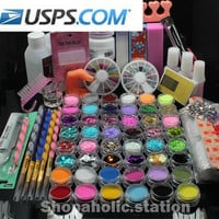 US Location 48 Acrylic Glitter Liquid Nail Art Brush Glue UV Powder Set Kit Tips