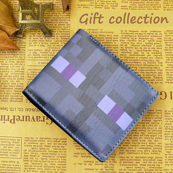 Minecraft wallet Leather color black, Gift Wallet