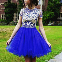 Elegant Beaded Royal Blue Cocktail Dress 2017 Short Prom Party Dress with Short Sleeve