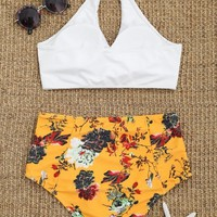 Floral Twist Front High Waisted Bathing Suit