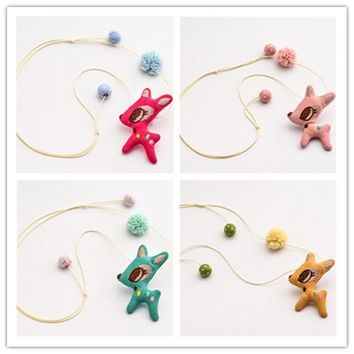 Korea Cute Lovely Cotton Cloth Deer Children Girl Kids Necklace & Pendant Chain Fashion Jewelry Accessories-HZPRCGNL006F