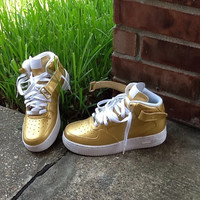 Gold/White Custom Nike Air Force Ones Available in Women's & Youth Sizes Hand Painted