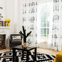 Drapes with Succulent in Black and White