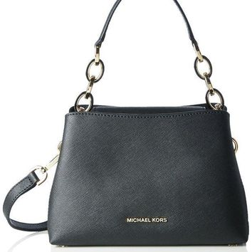 ESBON MICHAEL MICHAEL KORS Portia small saffiano leather shoulder bag Black