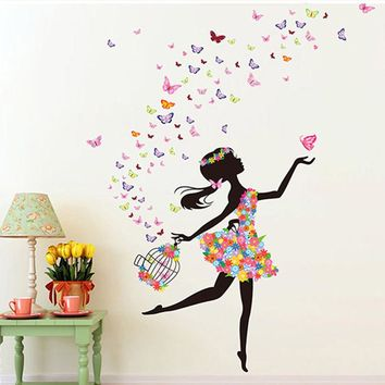 Fashion Modern DIY Decorative Mural  PVC Girl Butterfly Bedroom Room Wall Sticker For Home Decor Removable Decal Wwallpaper
