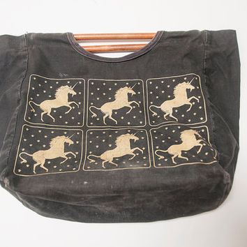 Wood Handle Vintage Unicorn Tote Bag | Majestic Mystical Fantasy Black and Gold Canvas Handbag | Pony Horse Faded Hipster Kitsch Gypsy Bag