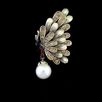 ca PEAPTM4 Vintage Pearls Rhinestone Butterfly Hollow Out Brooch [8026211143]