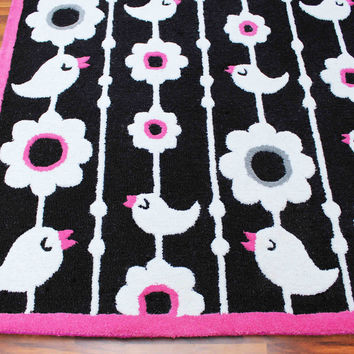 Birds and Flowers Black 5 x 8 Floral Persian Style Wool Area Rug