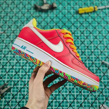 WMNS Nike Air Force 1 GS Low Red / Rainbow Outsole - Best Online Sale