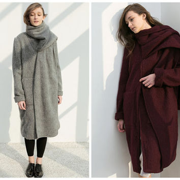 wool coat women,winter coat women,winter coat,gray coat,oversized coat,long coat,unique coat,grunge coat.wool jacket,winter jacket.--E0740