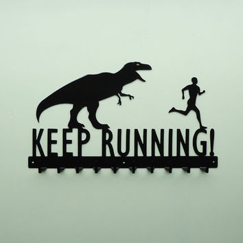 Keep Running TRex and Running Man Medals by KnobCreekMetalArts