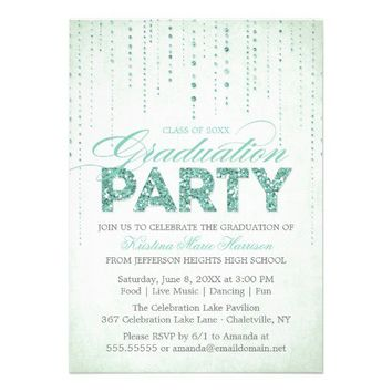 Sparkly Mint Glitter Graduation Party Invitation from Zazzle.com