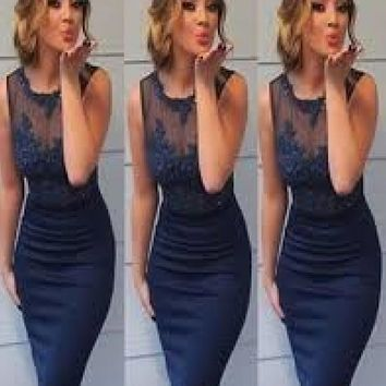 Blue Straps Bodycon Knee Length Homecoming Dresses with Applique