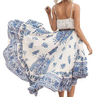 Elegant Bohemian High Waist Floral Printed Tunic Baggy Long Skirt