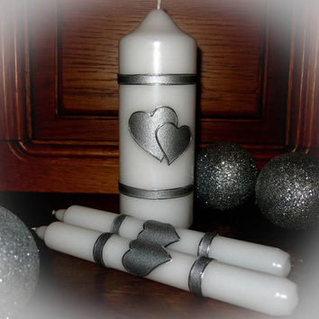 "Handmade Hand Decorated Wedding Unity Candles ""Two Hearts"", Pillar Candle, Taper Candles, Personalized Candles, Unity Candle Set"