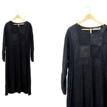 Black Rayon Dress 90s Long Embroidered Babydoll Dress Vintage India Slip Dress Loose Fit Long Sleeve Minimal Boho Grunge Dress Small Medium
