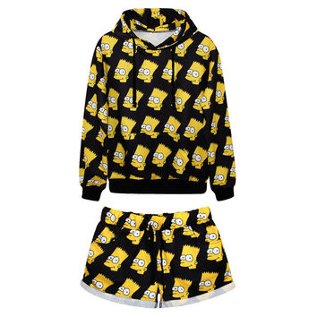 Women's Tracksuit All Over Print Bart Simpson Collage Sport Suit Hoodies Sweatshirt + Pants 2pc Set Jogging Sportswear