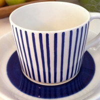 Rörstrand Sweden Kadett tea cup/espresso demitasse! Adorable, 1950s blue and white striped ceramic cup by Hertha Bengtsson!!