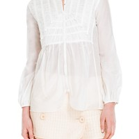 Silk & Cotton Shirred Long Sleeved Blouse