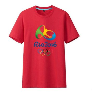 Rio 2016 Olympic Games Round Neck T-Shirt Commemorative Tees-XXL Red