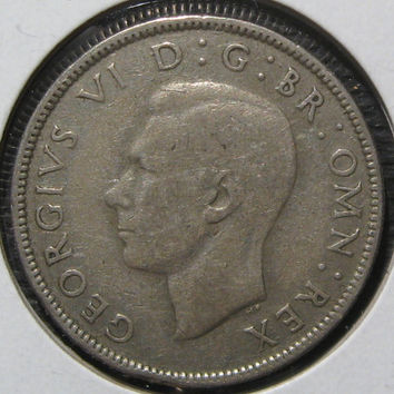 1941 ENGLAND  WW ll Era UK Great Britain Silver Two Shillings King George Nice Silver English Coin