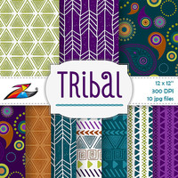 Labor Day Sale Colorful Tribal digital paper aztec pattern tribal background Scrapbook Paper Commercial Use aztec digital paper tribal
