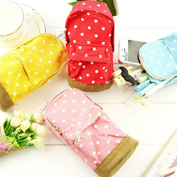 3 colors Lovely Students Children Mini Schoolbags dots Pen Canvas Pencil Case Pen Coin Bag New