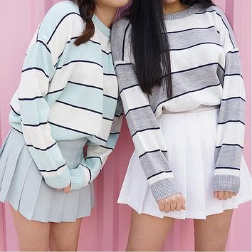 2017 New Korean Women Casual Knitted Sweater Autumn Fashion O-Neck Color Block Striped Pullovers Jumpers Female Loose Sweaters