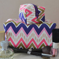 Purple, Pink, and Gold Chevron Mommy and Me Makeup Bag Set, Monogram Available