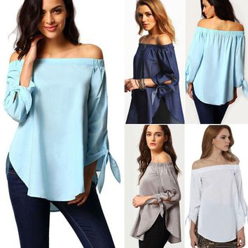 Boho Women Ladies Off Shoulder Casual Solid Shirts Summer Tops Tees Loose Blouse